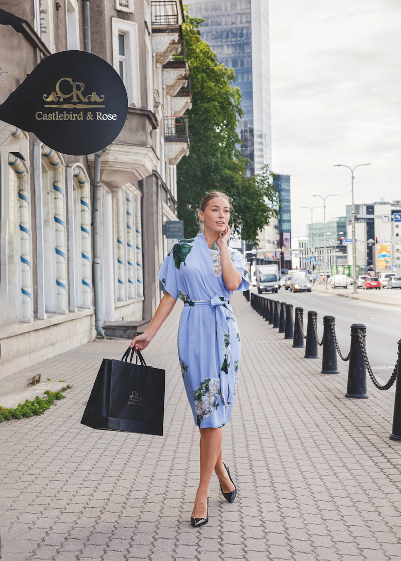 Short wrap dress sky blue ''Fleur Blanche'' - Castlebird Rose