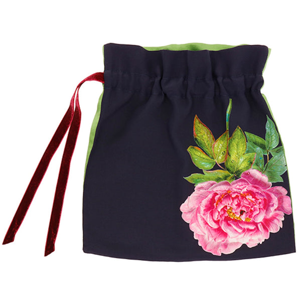 Silk Lingerie Travel Bag, Midnight Blue ''La Pivoine'' - Castlebird Rose