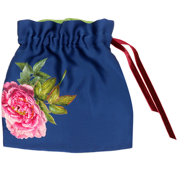 Silk Lingerie Travel Bag, Royal Blue ''La Pivoine'' - Castlebird Rose
