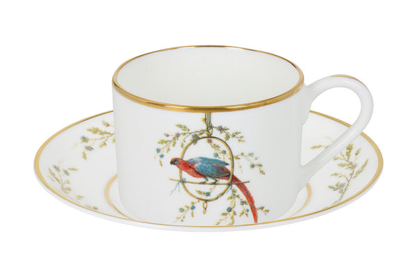 "Bone China Cup and Saucer ""Le Perroquet"" - Castlebird Rose"
