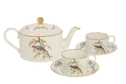 Bone China Tea-For-Two Tea set ''Le Perroquet'' - Castlebird Rose