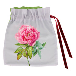 Silk Lingerie Travel Bag, Pearl Gray ''La Pivoine'' - Castlebird Rose