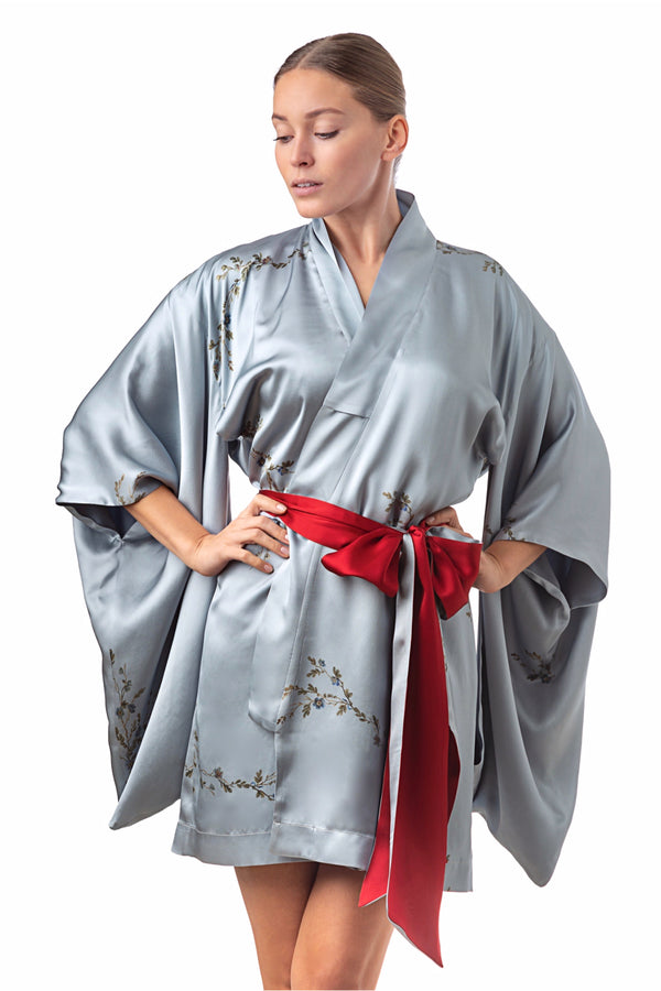 ''Le Perroquet'' Mini silk kimono light blue - Castlebird Rose
