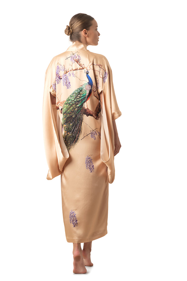 """The Emperor's Secret Garden"" Maxi silk kimono royal gold - Castlebird Rose"