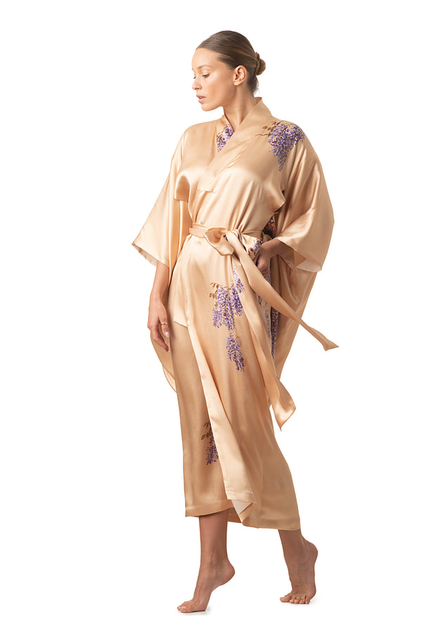 "Maxi silk kimono royal gold ""The Emperor's Secret Garden"" - Castlebird Rose"