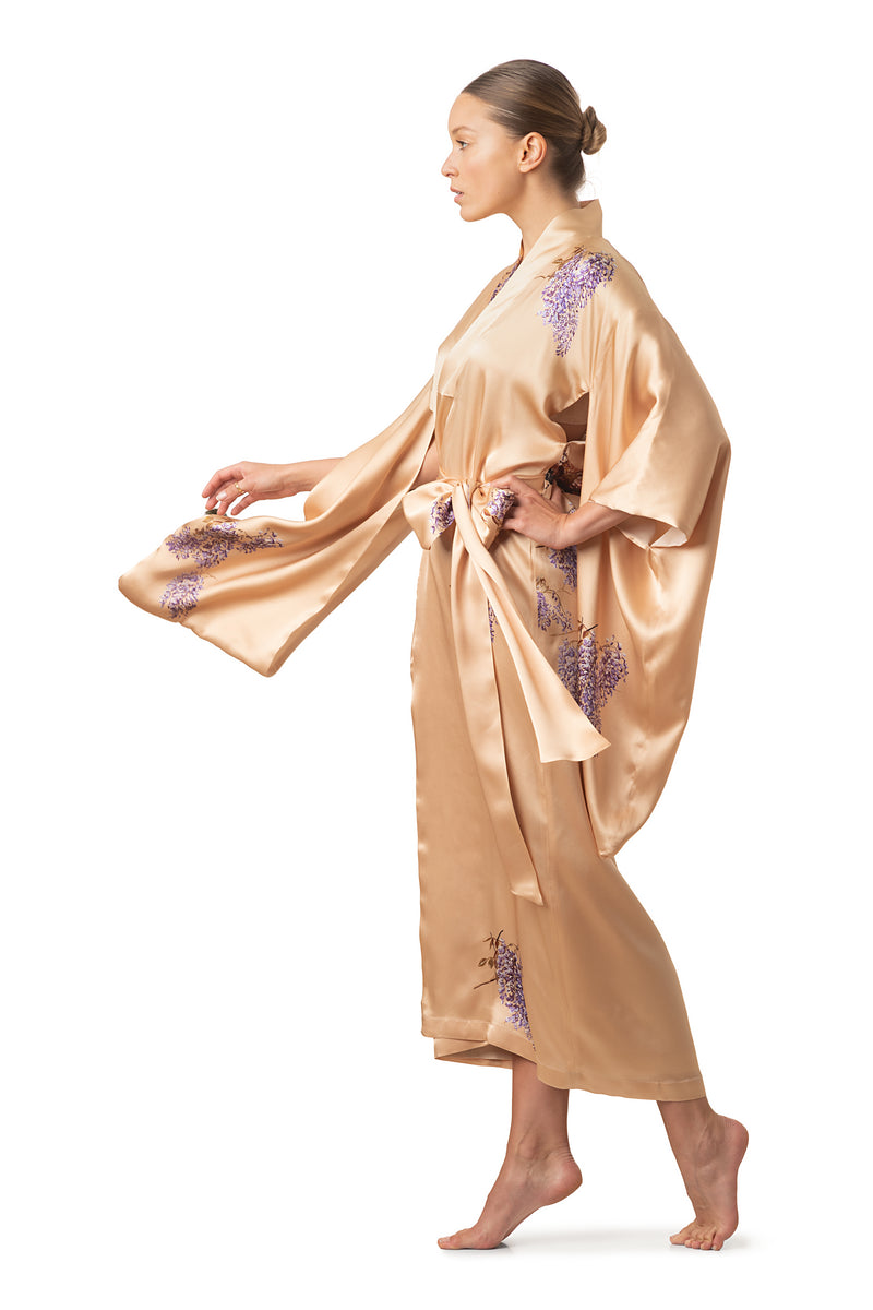 "Maxi silk kimono royal gold ""The Emperor's Secret Garden"" - House of Castlebird Rose"