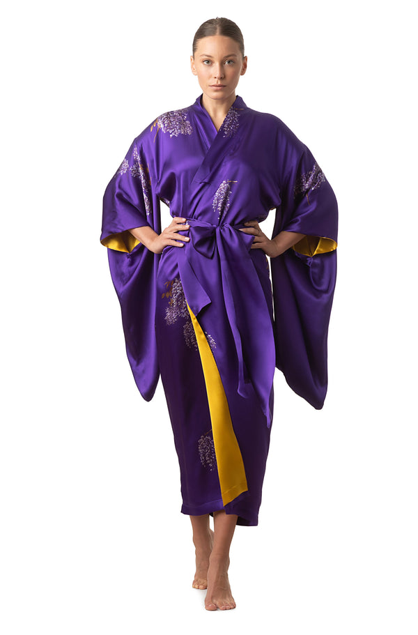 Maxi silk kimono, royal purple ''The Emperor's  Secret Garden'' - Castlebird Rose