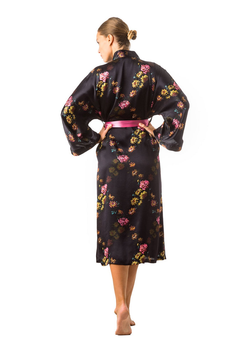 Long kimono robe deep purple ''Paris 1927'' - Castlebird Rose