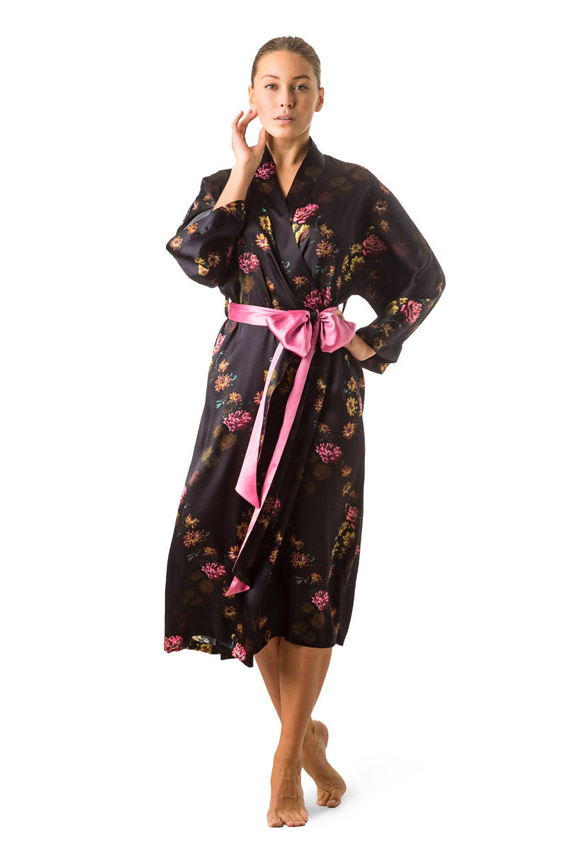 ''Paris 1927'' Long kimono robe deep purple - Castlebird Rose
