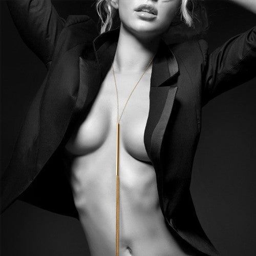 Magnifique - Metallic chain Whip Necklace Gold