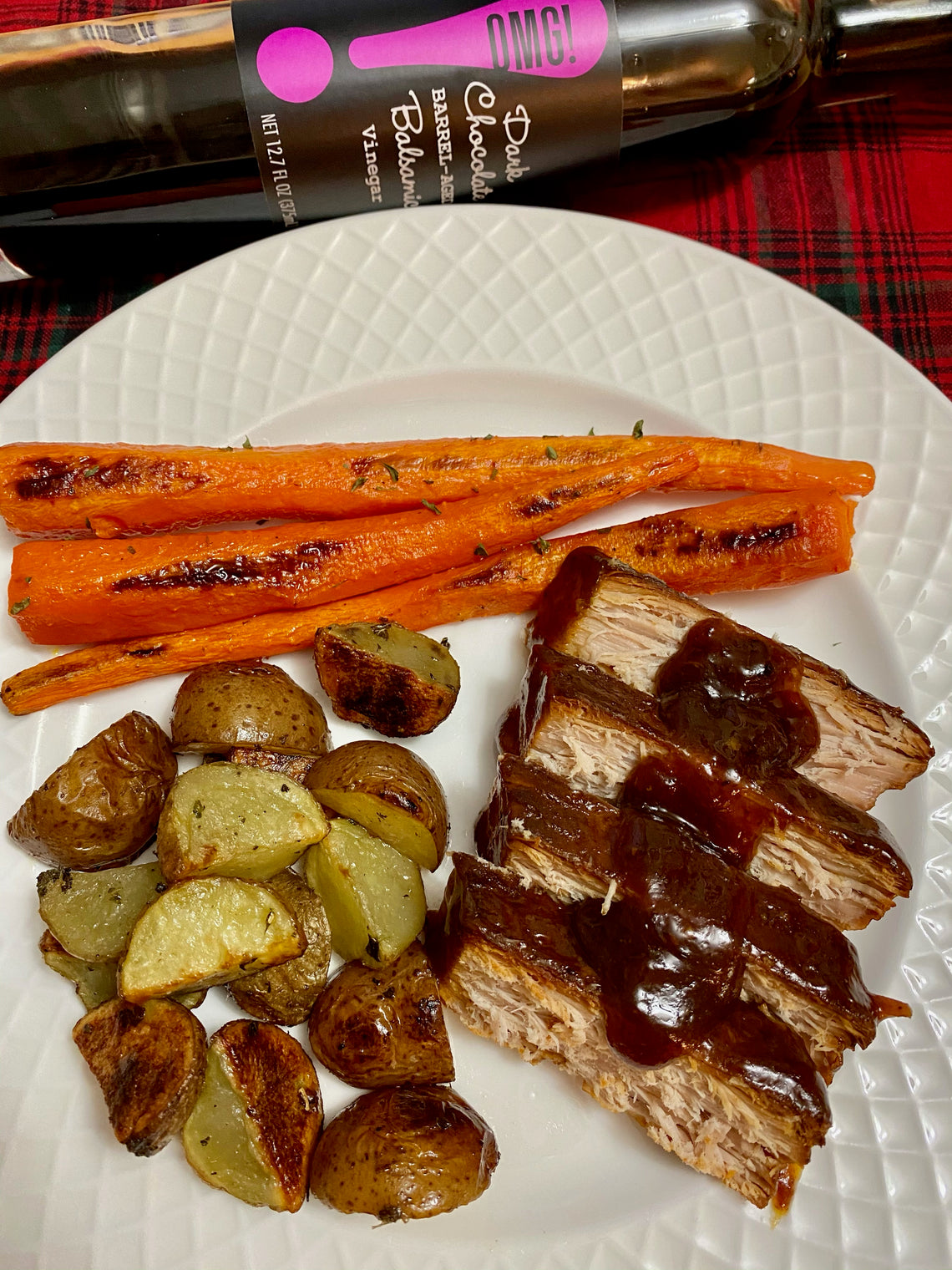 Dark Chocolate Balsamic (Crockpot) Pork Tenderloin with Roasted Potatoes and Carrots