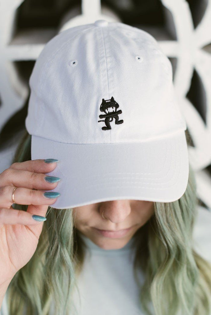 White Monstercat Dad Hat Model Photo