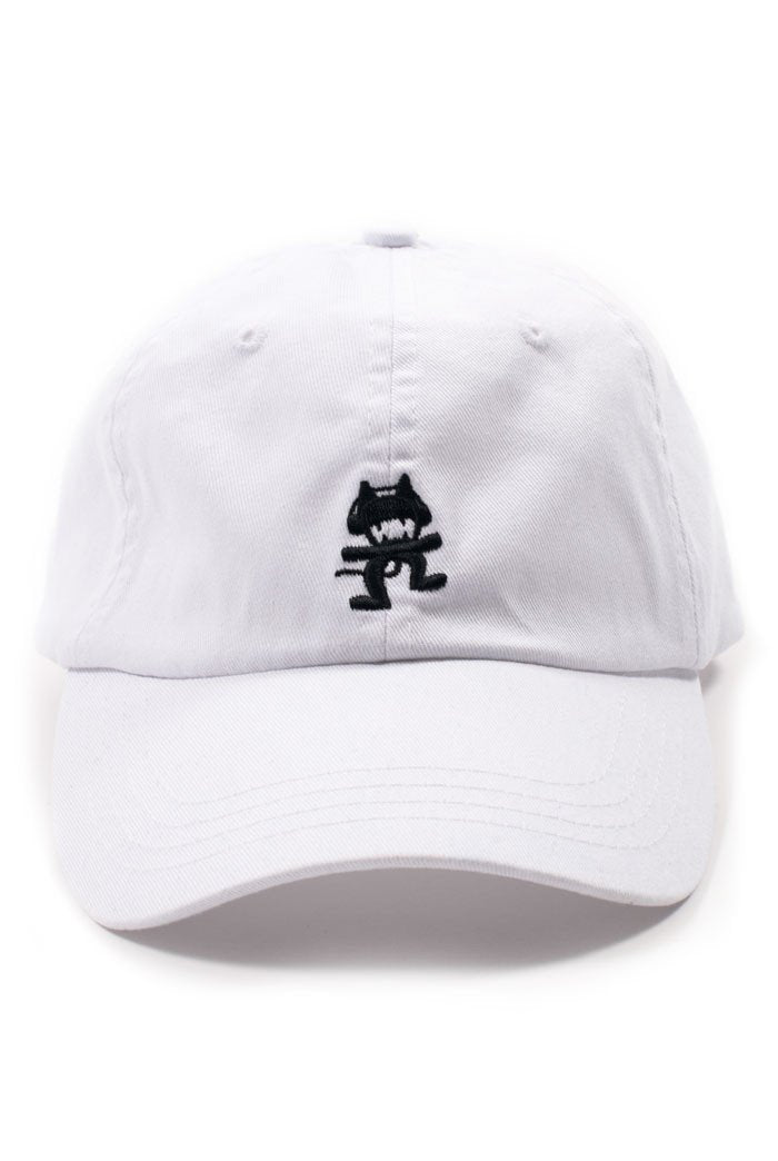 White Monstercat Dad Hat Front
