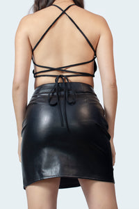 Black Vegan Leather Neon Lace Up Detail Skirt