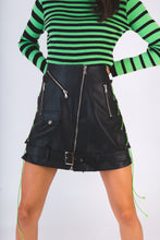 Load image into Gallery viewer, Biker Black Vegan Leather Skirt