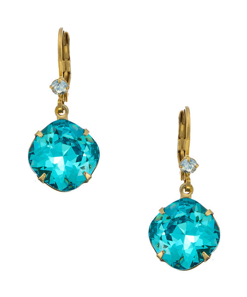 12mm 14 k Cushion Crsytal Drop earrings