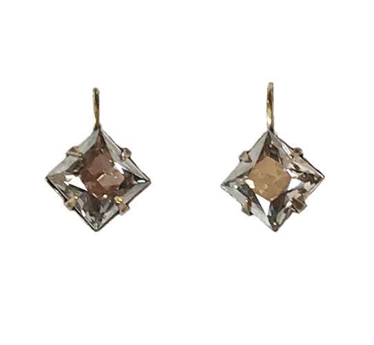 10mm Silver Shade Princess Square Earrings
