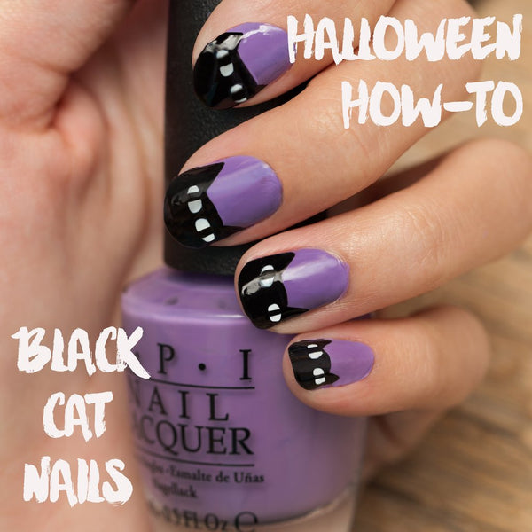 Halloween How-To: Black Cat Nails