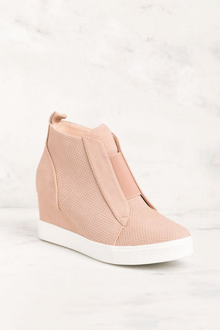 Blush Pink Wedge Sneaker
