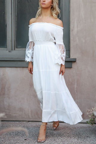 White Lace Maxi Homecoming Dress