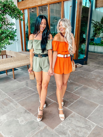 Besties Off The Shoulder Rompers