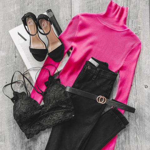 Charleston Hot Pink Turtleneck