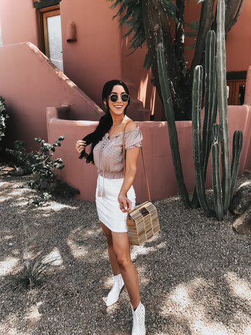 Off The Shoulder Top and White Mini Skirt