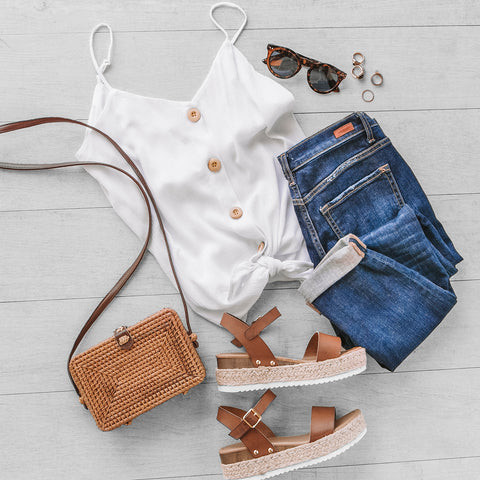 White Button Tank | Vacay Look | Casual | Womens
