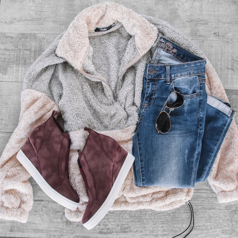 Sherpa Pullover Casual Look
