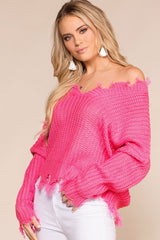 Hot Pink Distressed Sweater