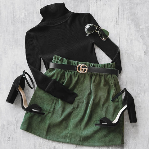Corduroy Skirt Fall Outfit