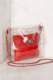 Quilted Red Transparent Cross Body Bag