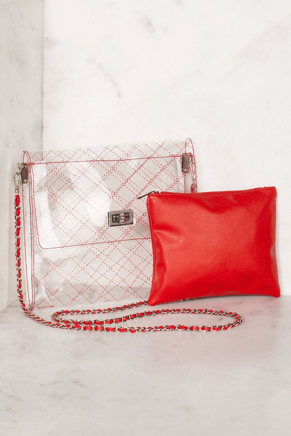 Priceless | Quilted Red | Transparent Cross Body Bag | Accessories