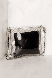 Quilted Black Transparent Cross Body Bag