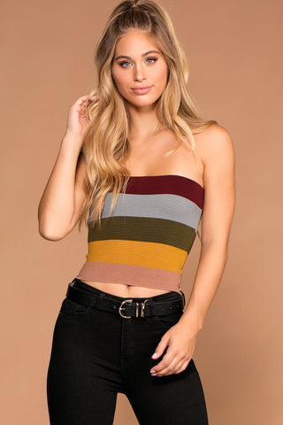 Alera Tube Crop Top - Burgundy