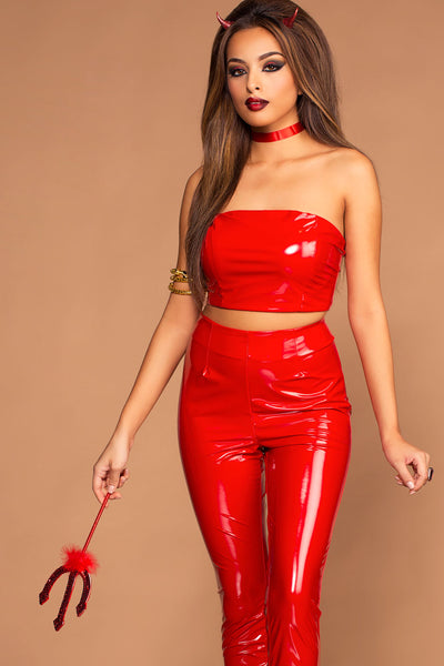 Devil Red Crop Top and Pants Set Costume