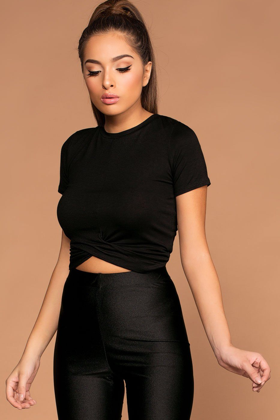 Brinley Black Twist Crop Top | Shop Priceless