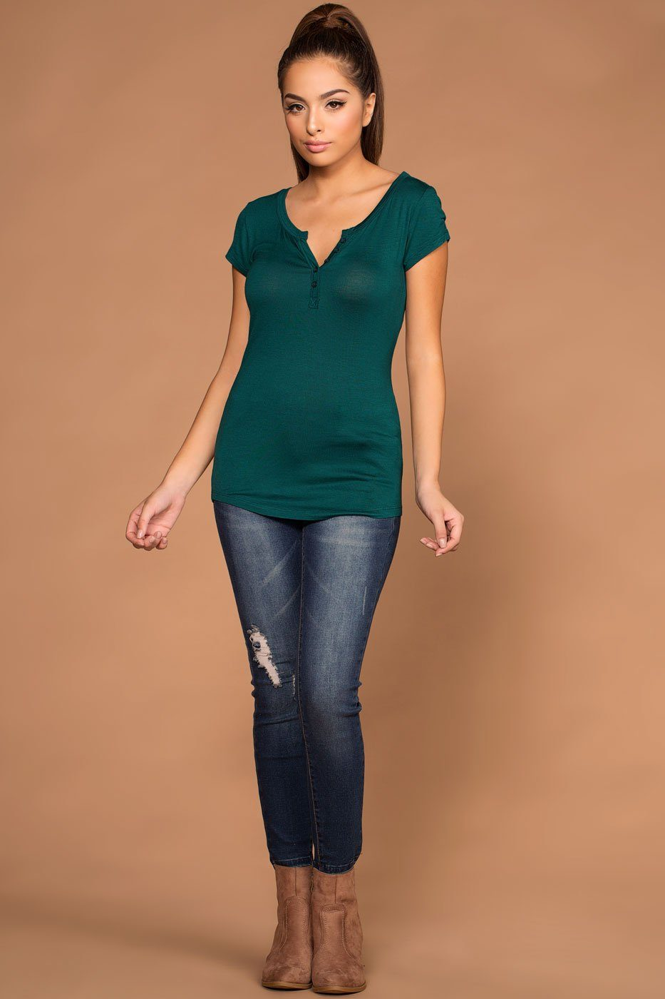 Lazy Days Teal Button Top | Active Basic