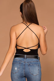 Natalie Black Strappy Back Bodysuit | Shop Priceless