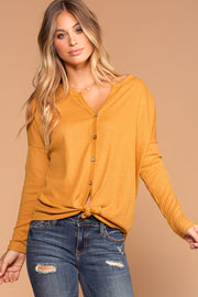 Raquel Mustard Button Tie-Front Waffle Knit Top