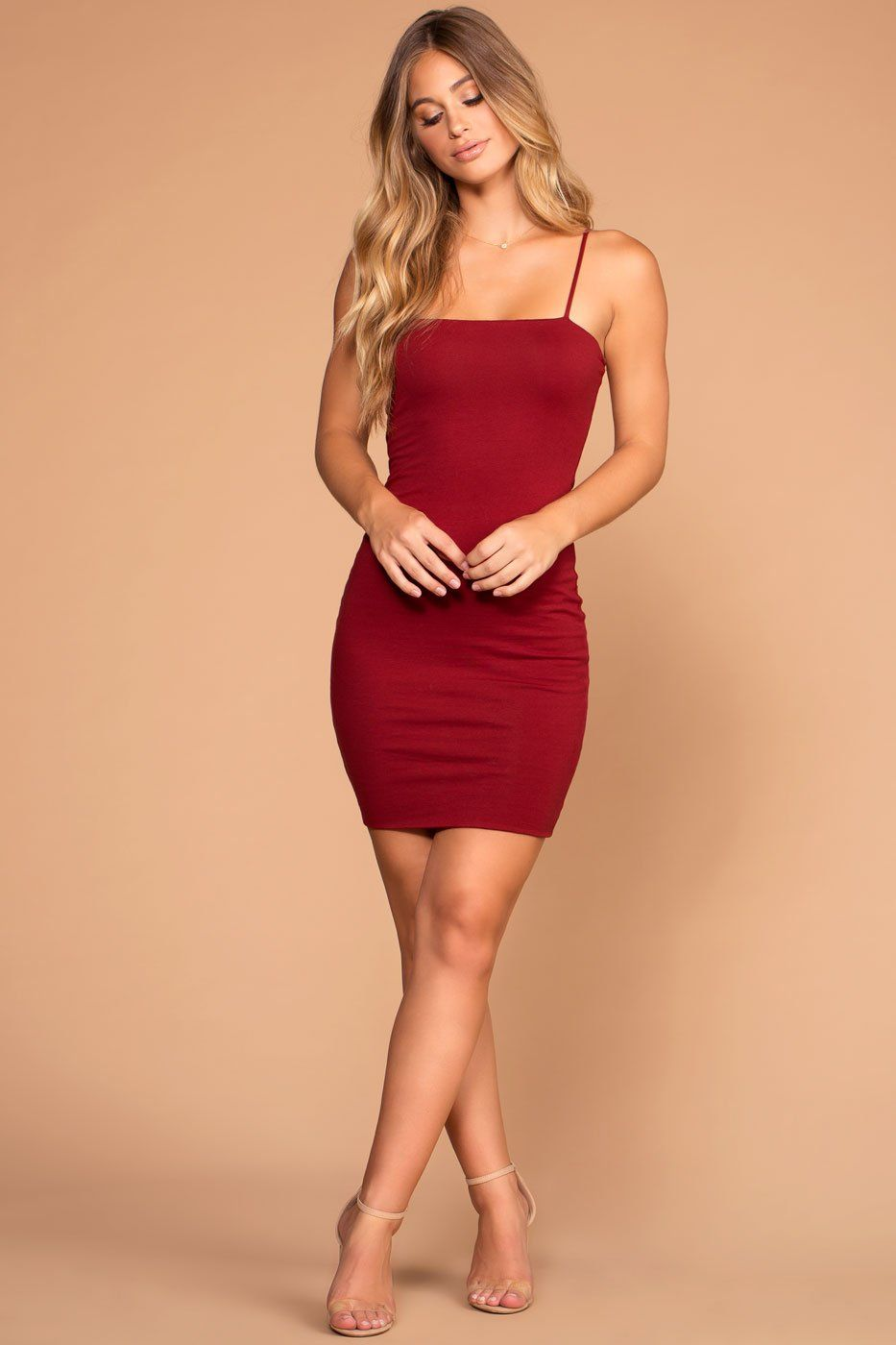 Alisa Burgundy Bodycon Dress