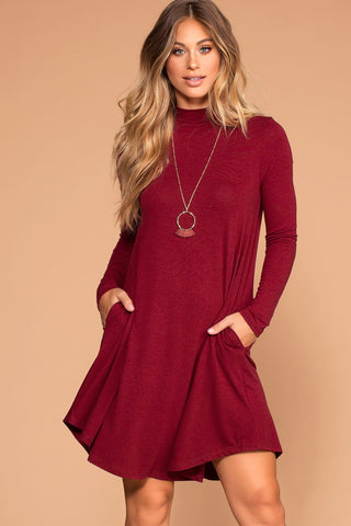 Dahlia Basic Dress - Mauve Stripe