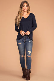 Missy Navy Long Sleeve V-Neck Top | Zenana