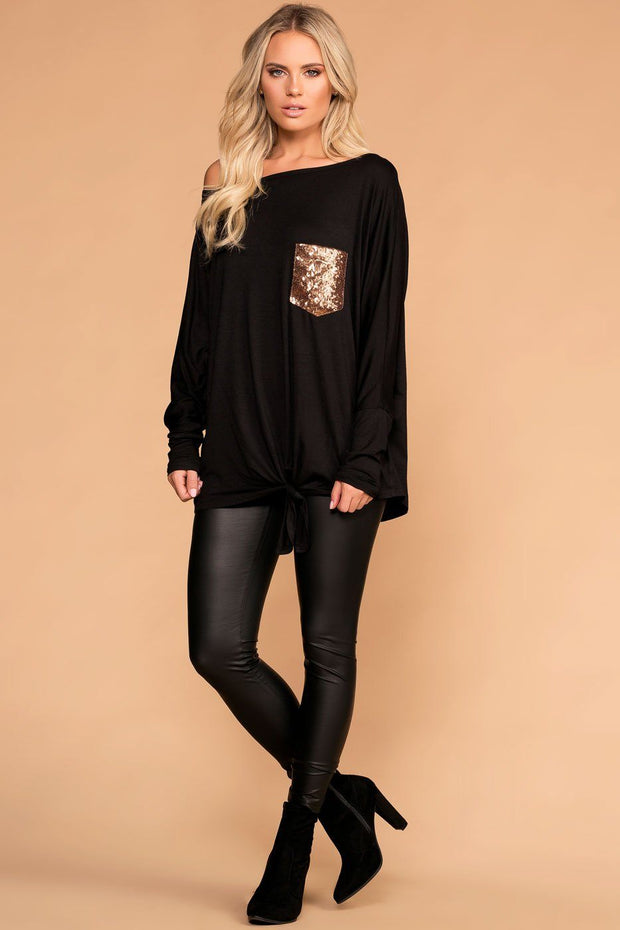 Gold Black Tie-Front Top with Sequin Pocket