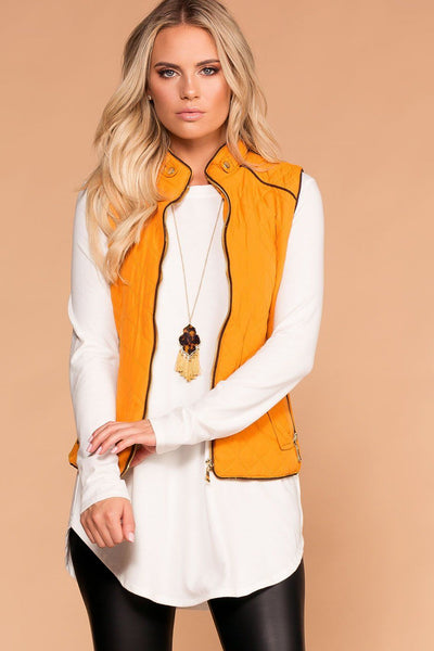 Vail Quilted Vest - Mustard | Active Basic