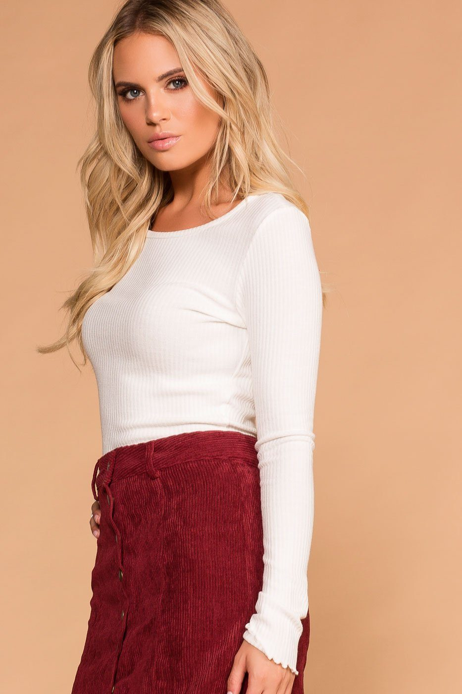 dc3febd852c Afternoon Breeze White Long Sleeve Crop Top