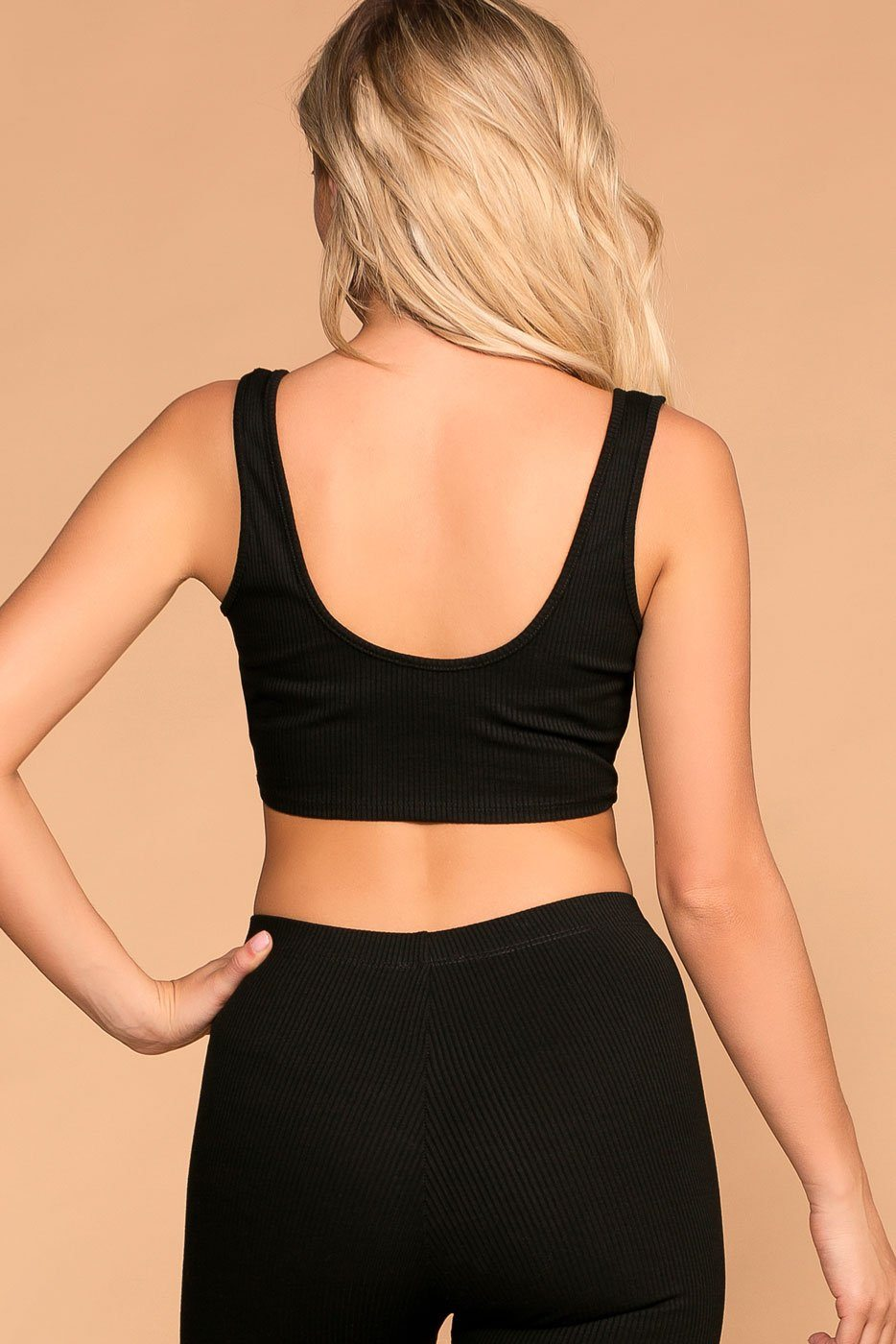 Black | Ribbed Crop Top | Womens | Priceless