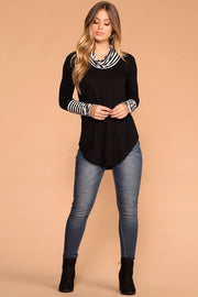Liza Black Stripe Turtleneck Top | Zenana
