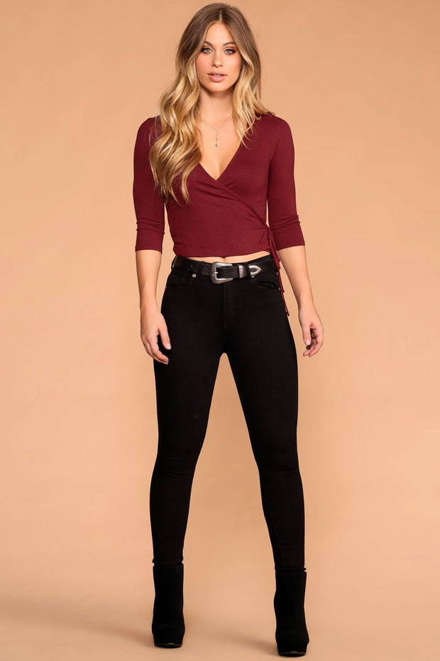 Iris Burgundy Cross Over Tie Front Top | Iris