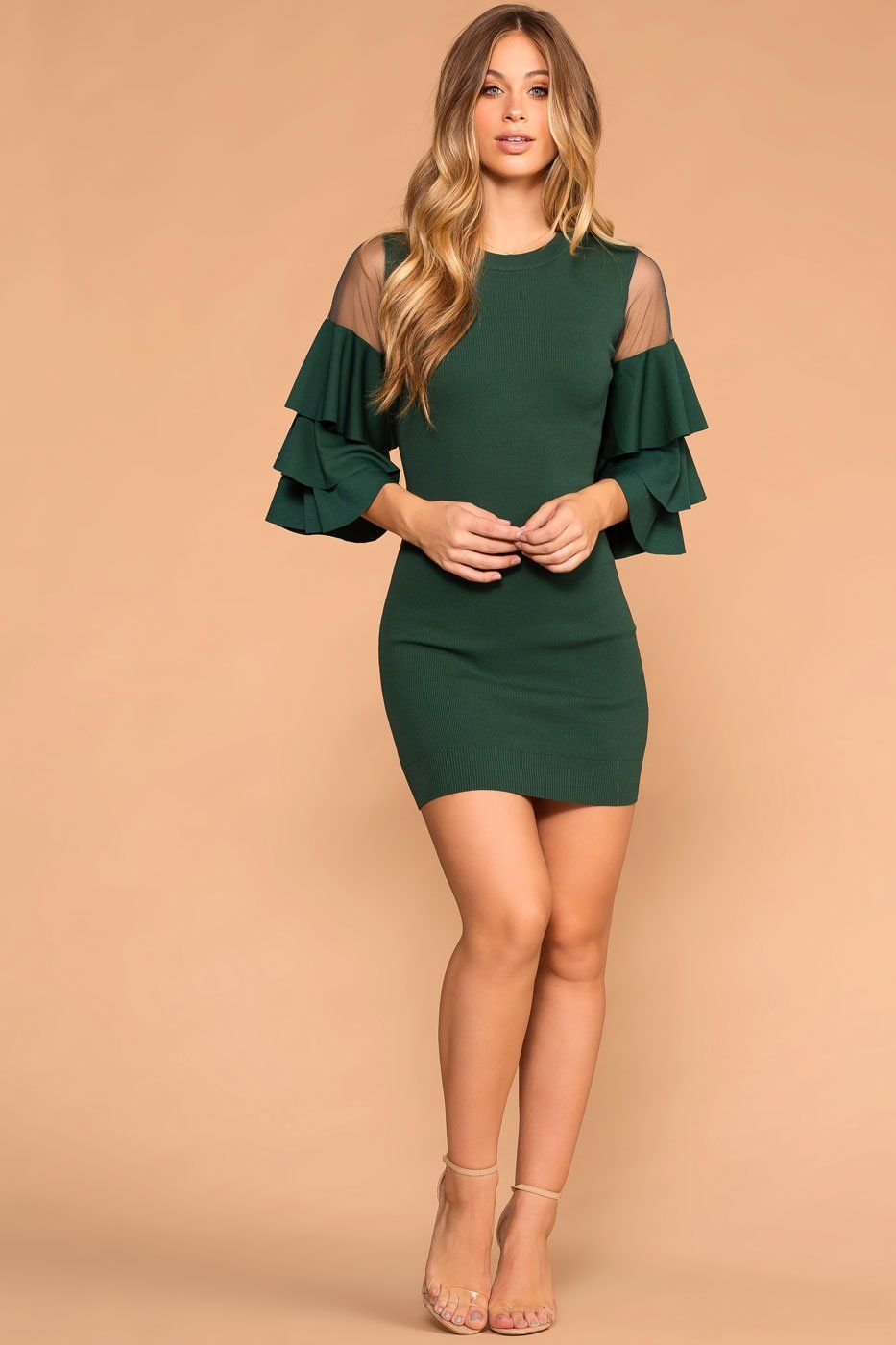 Hunter Green Mesh Ruffle Sleeve Dress